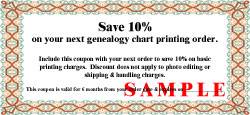 save 10% on genealogy chart printing